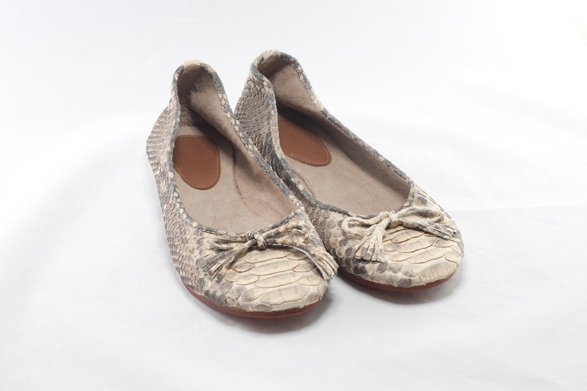 "BIDADARI Natural Beige Python ""JEANE"" Ballerina Shoes"