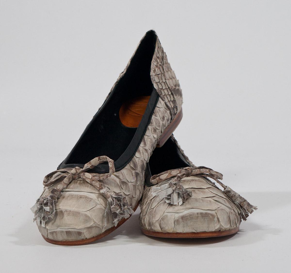 "BIDADARI Natural Beige PYTHON Batik ""GABY"" Bow Ballerina Shoes"