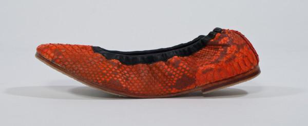 "BIDADARI Orange PYTHON ""EMMIE"" BATIK Stretch Ballerina Shoes"